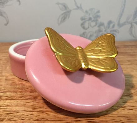 Small Ceramic Trinket Jewellery Dish & Butterfly Lid ~ Pink
